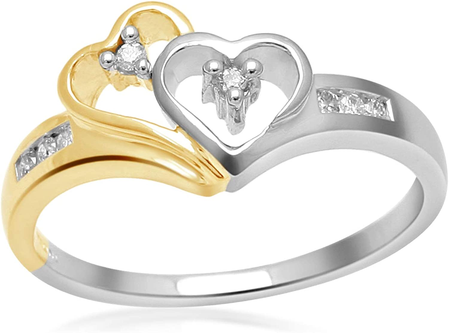 Amazon Com 14k Yellow Gold And White Gold Diamond Heart Ring 1 10 Cttw Promise Ring Jewelry