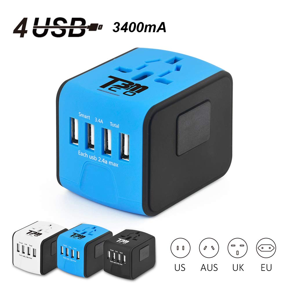 T3MCO Travel Adapter. International Travel Adapter, 3 USB Ports + Type-C/4 USB Ports, UK, EU, AUS, USA, Universal Travel Adapter, Multi Use USB Travel Adapter (4 USB, BLUE)