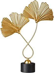 Desktop Figurine Iron Leaf Sculpture with Wooden Base Sculpture Modern Decorative Object for Home, Office, Table and Desktop - Style 1