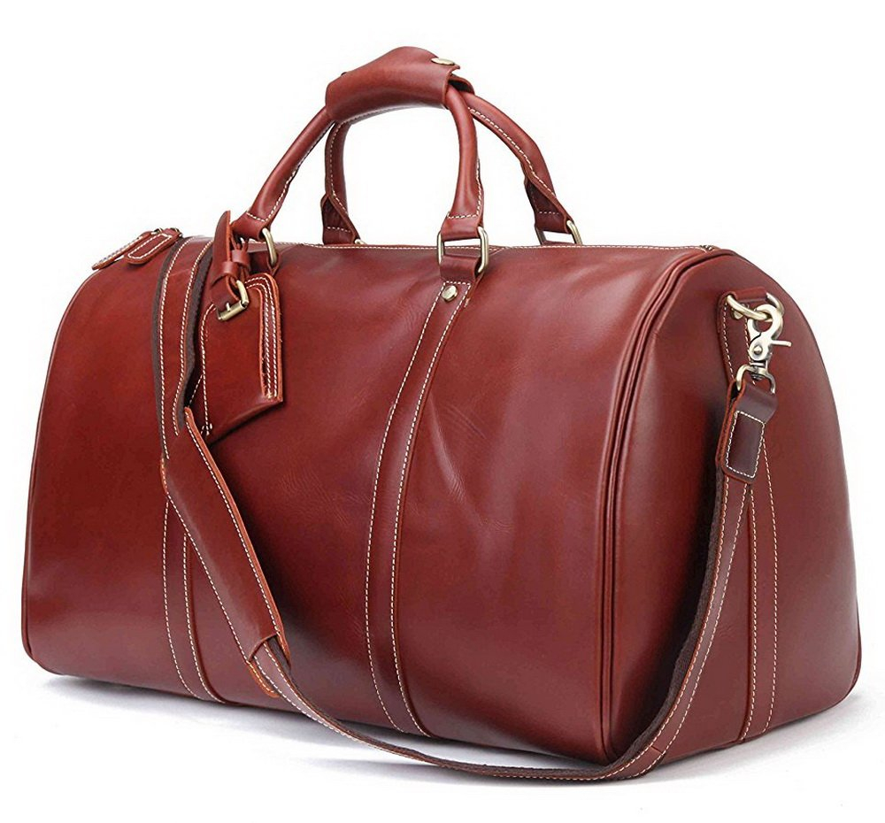 BAIGIO Men Leather Travel Duffle Bag Weekend Bag Luggage Carry-on Duffel (Red Brown)