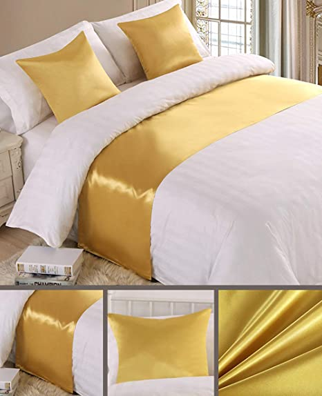 Mengersi Solid Satin Bed Runner Scarf Protector Slipcover Bed Decorative Scarf for Bedroom Hotel Wedding Room King, Silver