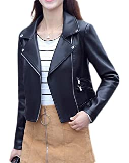 Etecredpow Mens Fleece Faux Leather Autumn Winter Pocket Warm Outer Wear Biker Parka Coat