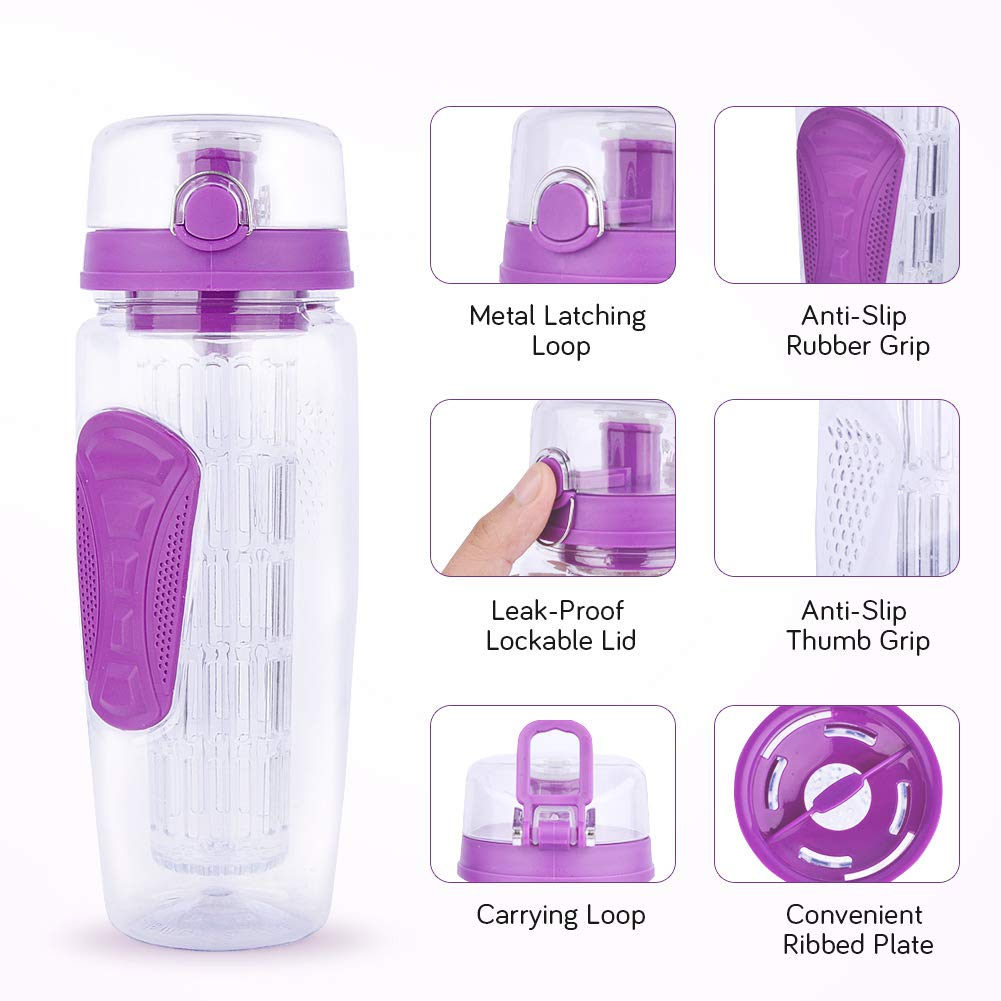 Yishik 2 in 1 Fruit Infuser Water Bottle Large 32oz Featuring a Full Length Infusion Rod, BPA-Free Fruit Infusion Sports Bottle - Flip Top Lid,Drinking Spout, Leak Proof, Made of Durable Tritan