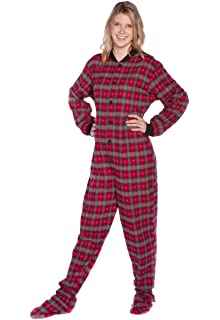 d1aac3088 Big Feet Pajama Co. Red Plaid Cotton Flannel Tartan Adult Footed ...