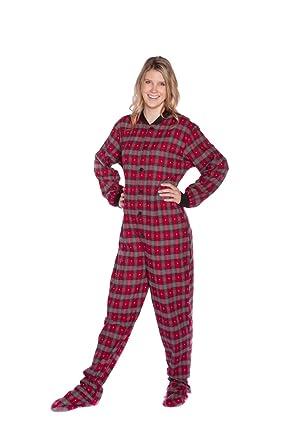 22e71727390c Big Feet Pajama Co. Red Plaid Cotton Flannel Tartan Adult Footed Pyjamas  Onesie for Men   Women