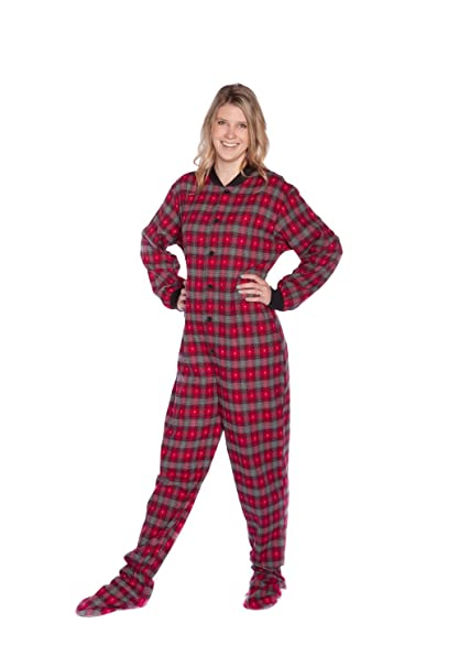 Red Grey Plaid Flannel w Hearts Adult Footed Pajamas No Drop-Seat ( c9b0cf1ff