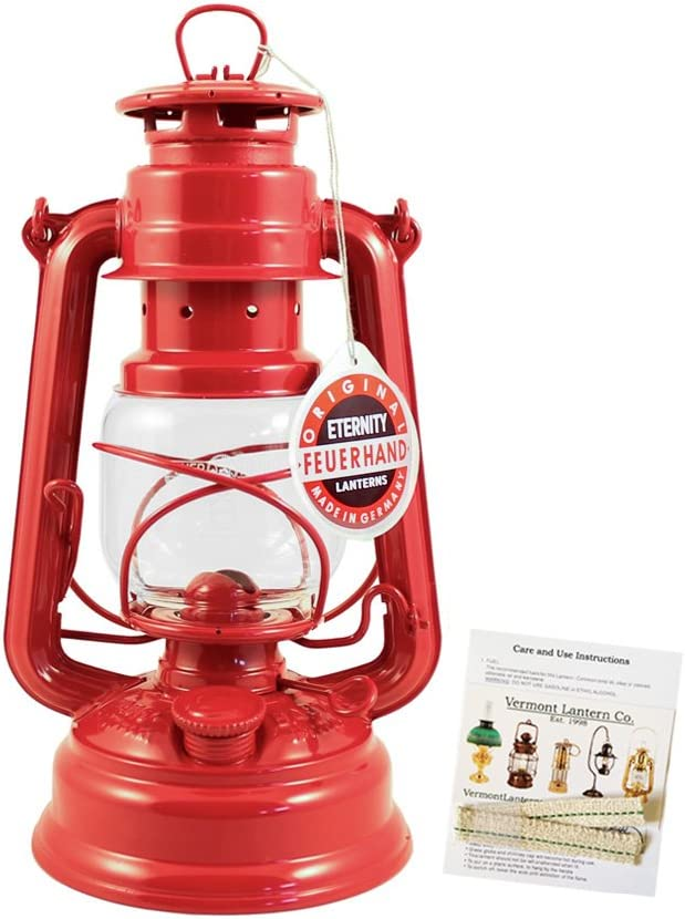 "Feuerhand Hurricane Lantern - German Made Oil Lamp - 10"" with Care Pack (Red)"