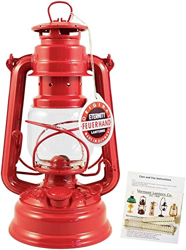 Feuerhand Hurricane Lantern – German Made Oil Lamp – 10 with Care Pack Red