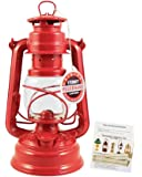 """Feuerhand Hurricane Lantern - German Made Oil Lamp - 10"""" with Care Pack (Red)"""