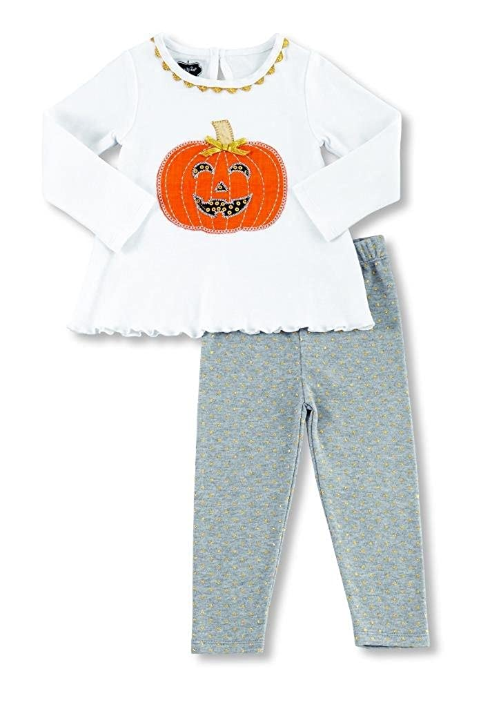 Mud Pie Little Girls Tunic and Leggings Set Pumpkin Applique 2T