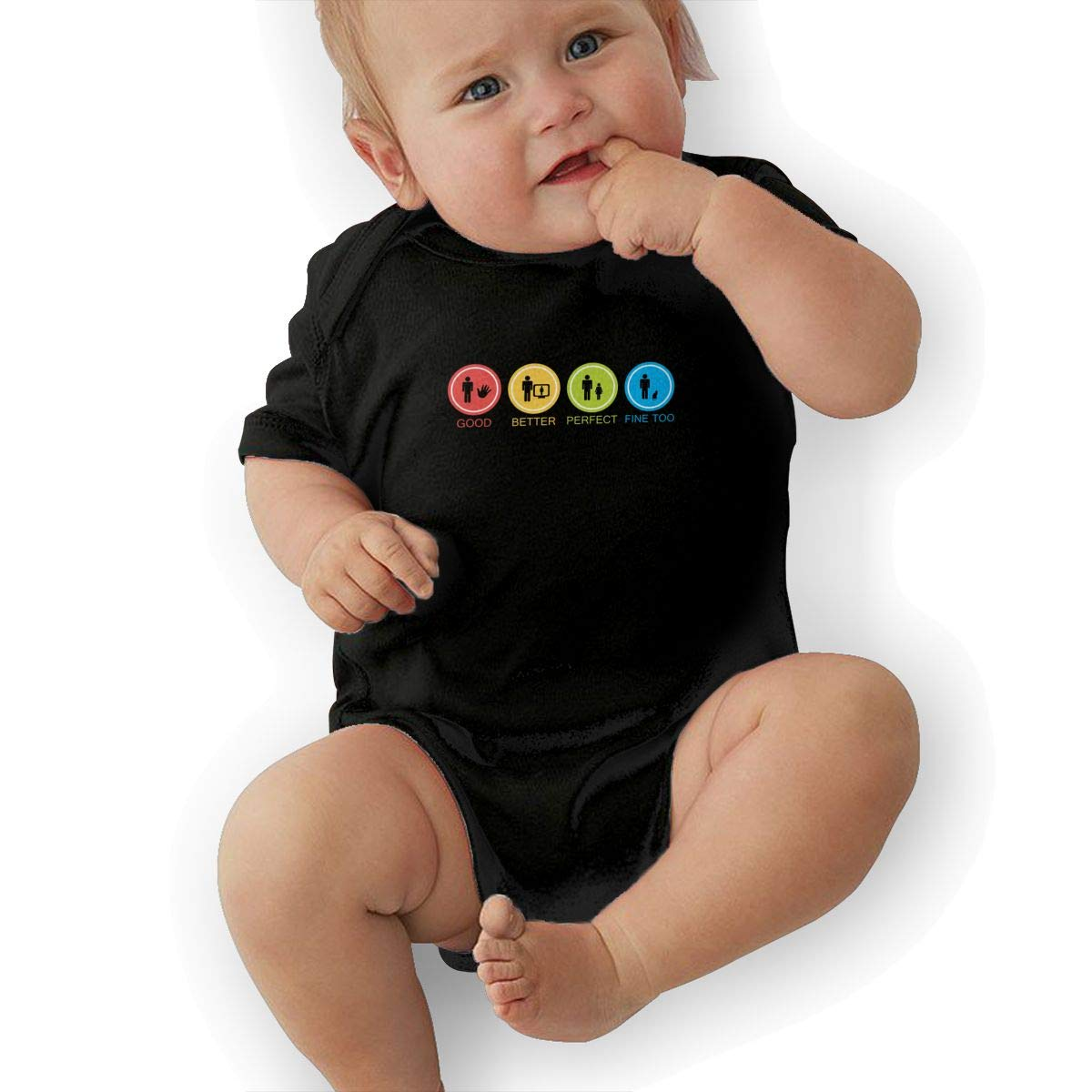 Fine with Cat Newborn Baby Short Sleeve Romper Infant Summer Clothing Black