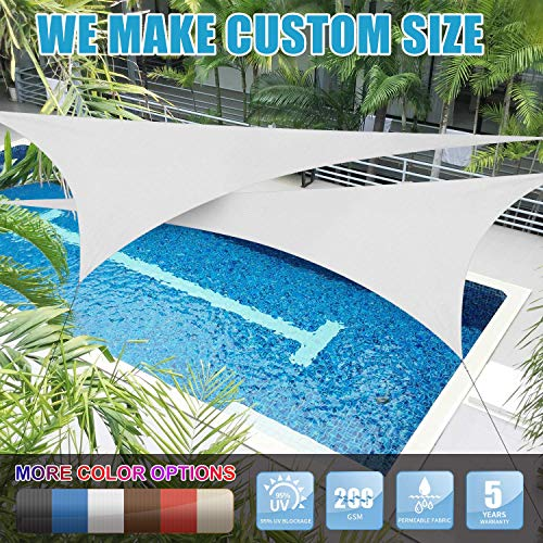 Amgo Custom Size 8 x 8 x 8 White Triangle Sun Shade Sail Canopy Awning, 95 UV Blockage, Water Air Permeable, Commercial and Residential Available for Custom Sizes