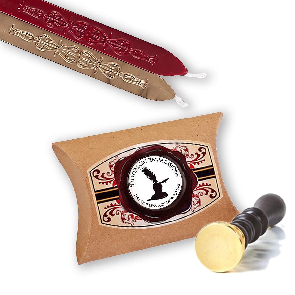 Wedding Custom Wax Seal Stamp Kit with Sealing Wax-1'' Die with 2 Letter Monogram by Nostalgic Impressions