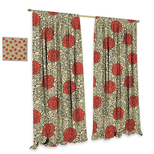 (homefeel Rose Patterned Drape for Glass Door Hand Painted Style Flowerbed with Romantic Blossoms in Pastel Colors Drapes for Living Room W84 x L96 Vermilion Cream Dark Brown )