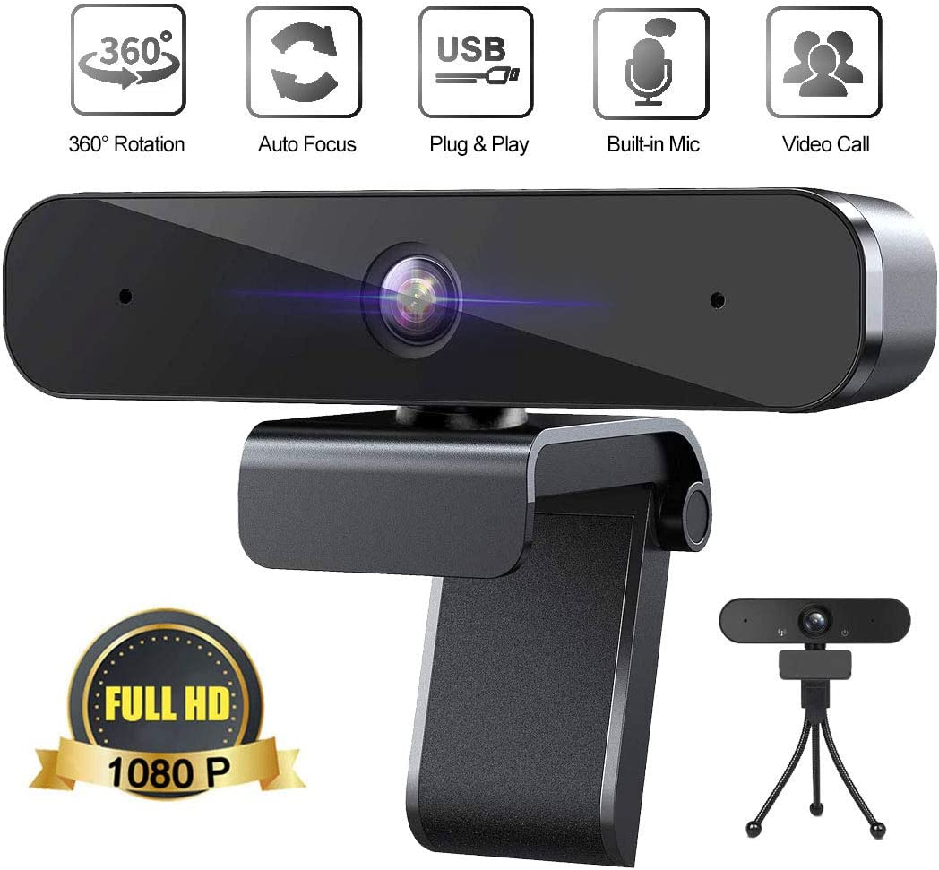 Full HD 1080P Webcam with Microphone,360-Degree Rotation, USB Plug and Play, Streaming Web Camera for PC, Desktop or Laptop, Video Conferencing, Recording, and Streaming