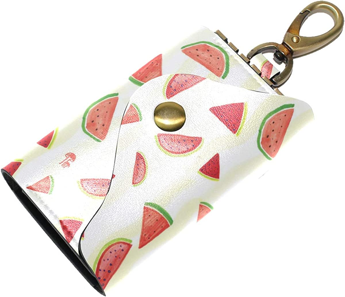 KEAKIA Watermelon Pattern Leather Key Case Wallets Tri-fold Key Holder Keychains with 6 Hooks 2 Slot Snap Closure for Men Women