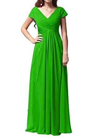 DressyMe Womens Bridesmaid Dress Prom Dress V-Neck Sleeves -6-Apple Green