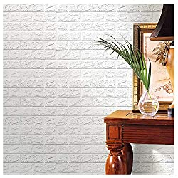 Iusun Wall Sticker PE Foam 3D Wallpaper Removable DIY Mural Paper Decoration for Room Home Nursery Bedroom Office Supplies Decal - Ship From USA (White)
