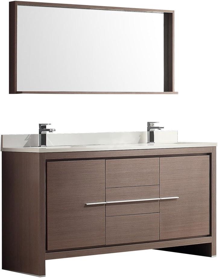 Fresca Bath Fvn8119go Allier 60 Double Sink Vanity With Mirror Gray Oak Amazon Com