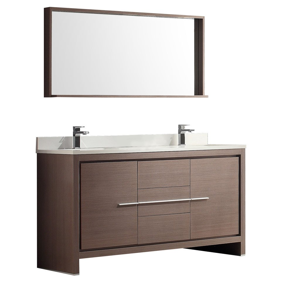 60 double sink vanity. Fresca Bath FVN8119GO Allier 60  Double Sink Vanity With Mirror Gray Oak Amazon Com