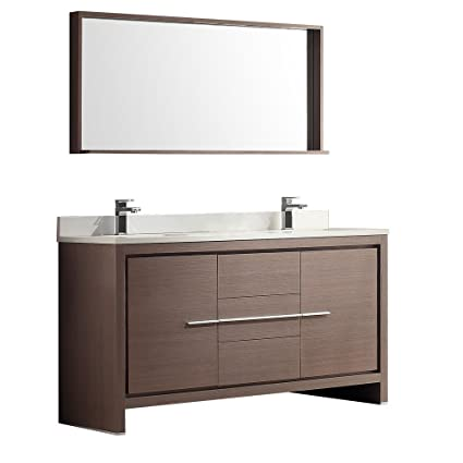 Fresca Bath FVN8119GO Allier 60u0026quot; Double Sink Vanity With Mirror, ...