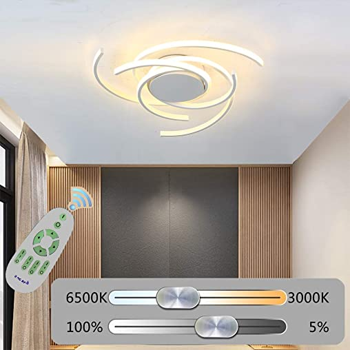 Phlilqe LED Ceiling Light Dimmable Chandelier Living Room Kitchen with Remote Control Hanging Lamp, Modern Dining Room Flush Mount Acrylic Chic Ceiling Chandeliers Lighting for Bedroom White, 29.5
