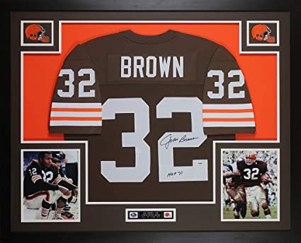 ee6b2e3a346 Jim Brown Autographed Brown Cleveland Browns Jersey - Beautifully Matted  and Framed - Hand Signed By