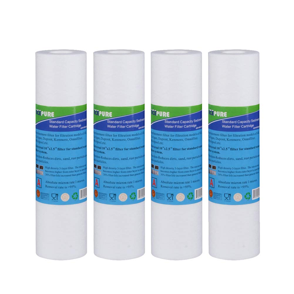 """ICEPURE 10""""X2.5"""",5 Microns PP10 Whole House Sediment RO System Water Filter Compatible with Dupont WFPFC5002,Pentek DGD Series,RFC Series,Aqua Pure AP110,Whirpool,WHKF-GD05,4PACK"""