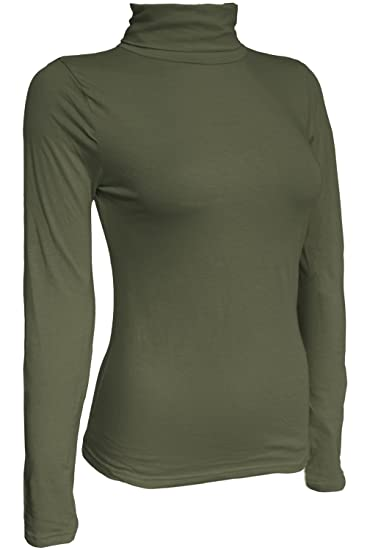 KMystic Women's Classic Long Sleeve Turtleneck Top (Small, Olive)