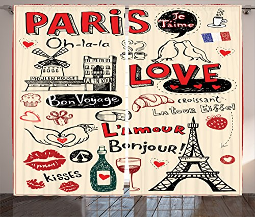 Ambesonne Paris City Decor Collection, Paris Love Doodles Coffee wine Glass Croissant Cheese Cupcake Kiss Sketchy Art Image, Living Room Bedroom Curtain 2 Panels Set, 108 X 84 Inches, Red Black Ivory