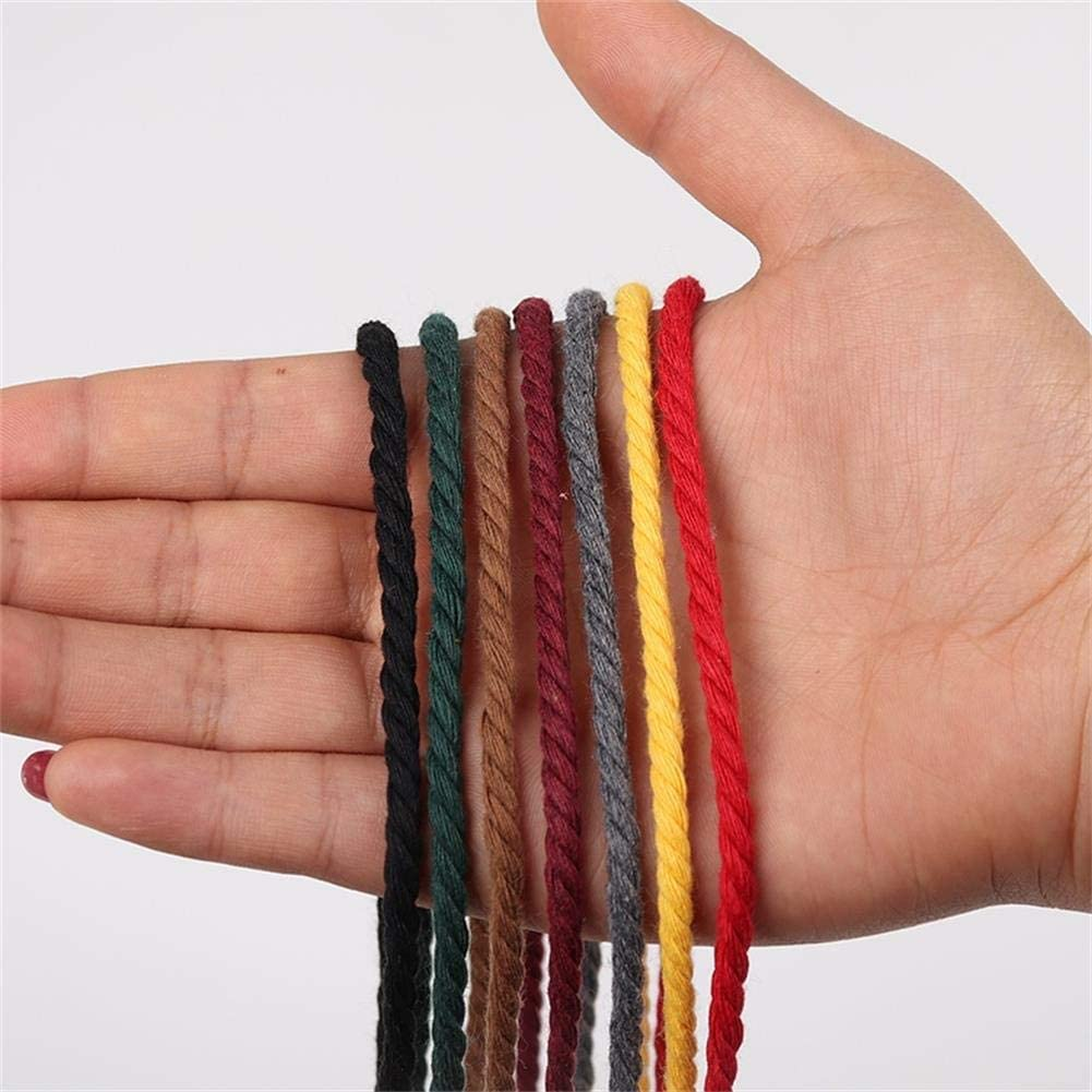 3 Strand Twisted Cotton Rope Macrame Yarn Knitting /& Crocheting Plant Hangers Colorful Cotton Craft Cord for Wall Hanging Grey Macrame Cord 3mm x 220yards Colored Macrame Rope Crafts