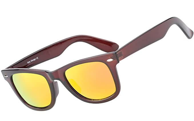 7ad84d559d4 Beison Classic Glasses TR90 Polarized Sunglasses UV400 (Brown frame Red  mirror