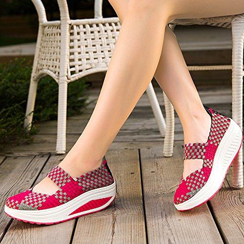 Enllerviid Women Weave Mary Jane Tonificazione Scarpe Da Passeggio Forma Fitness Sneakers 809 Rose