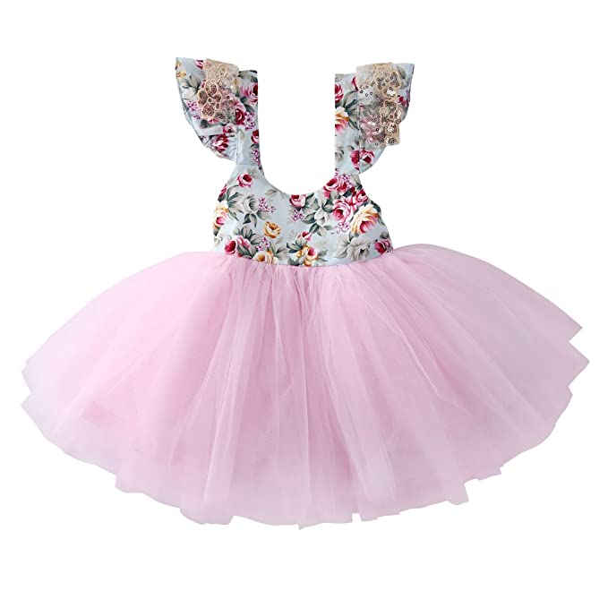 Amazon.com: Newborn Toddler Baby Girls Floral Dress Party Ball Gown ...