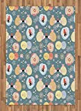 Kids Area Rug by Lunarable, Cute Hedgehogs Kissing Hearts Love Bees Flowers Cheerful Happy Baby Artwork Image, Flat Woven Accent Rug for Living Room Bedroom Dining Room, 5.2 x 7.5 FT, Multicolor