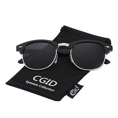 CGID MJ56 Clubmaster clubma Retro Vintage Sonnenbrille im angesagte 60er Browline-Style mit markantem Halbrahmen Sonnenbrille,Silber-Violett