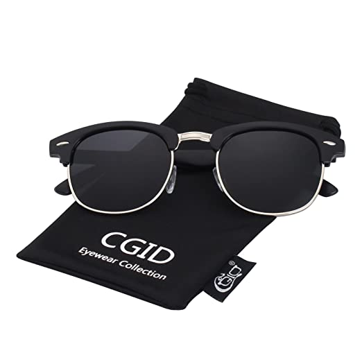 bd5c5c4b60a CGID Premium Classic Inspired Half Frame Horn Semi-Rimless Rimmed Sunglasses  with Metal Rivets