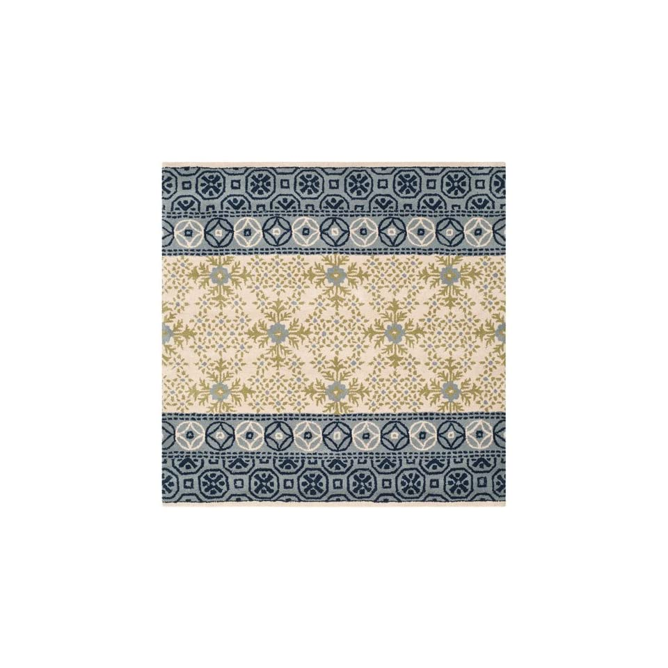 Safavieh Bella Collection BEL119A Handmade Ivory and Blue Premium Wool Square Area Rug (5 Square)