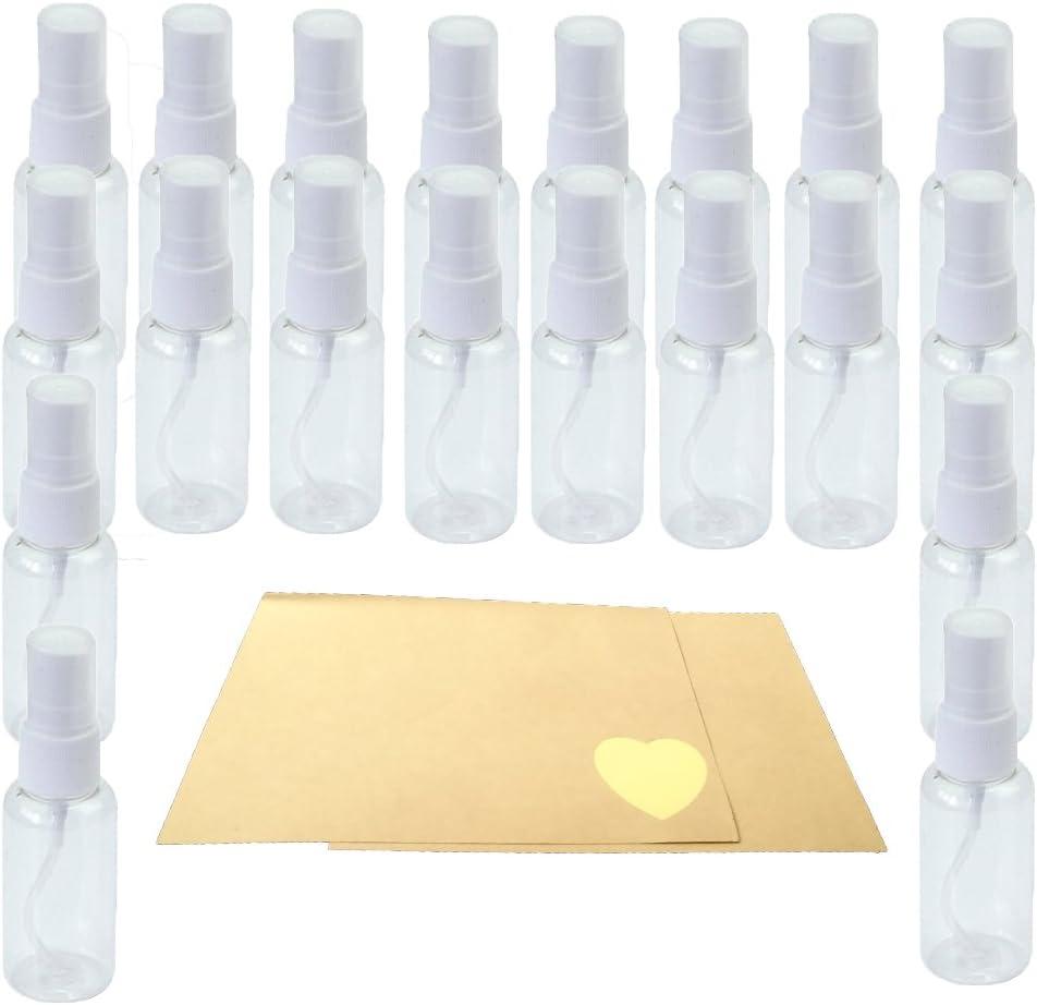 Atomizadores Botella de Spray de Viaje 20pcs (30ML) Pulverizador Vaporizador Pulverizacion Plástico Perfume Transparente Reutilizable Botella de Spray de Perfume+ 24 piezas de Papel para etiquetas