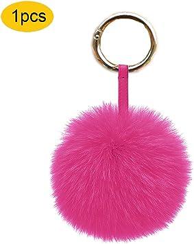 Fluffy Real Fox Fur Pom Pom Ball Bag Charm Car Keychain Keyring Pendant