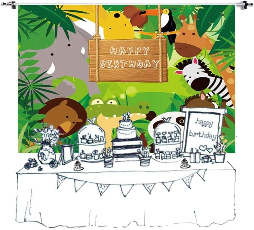New Birthday Party Backdrop Jungle Safari Vinyl Photography Background Wild Animals Cake Table Banner Children Photoshoot Props 7x5ft