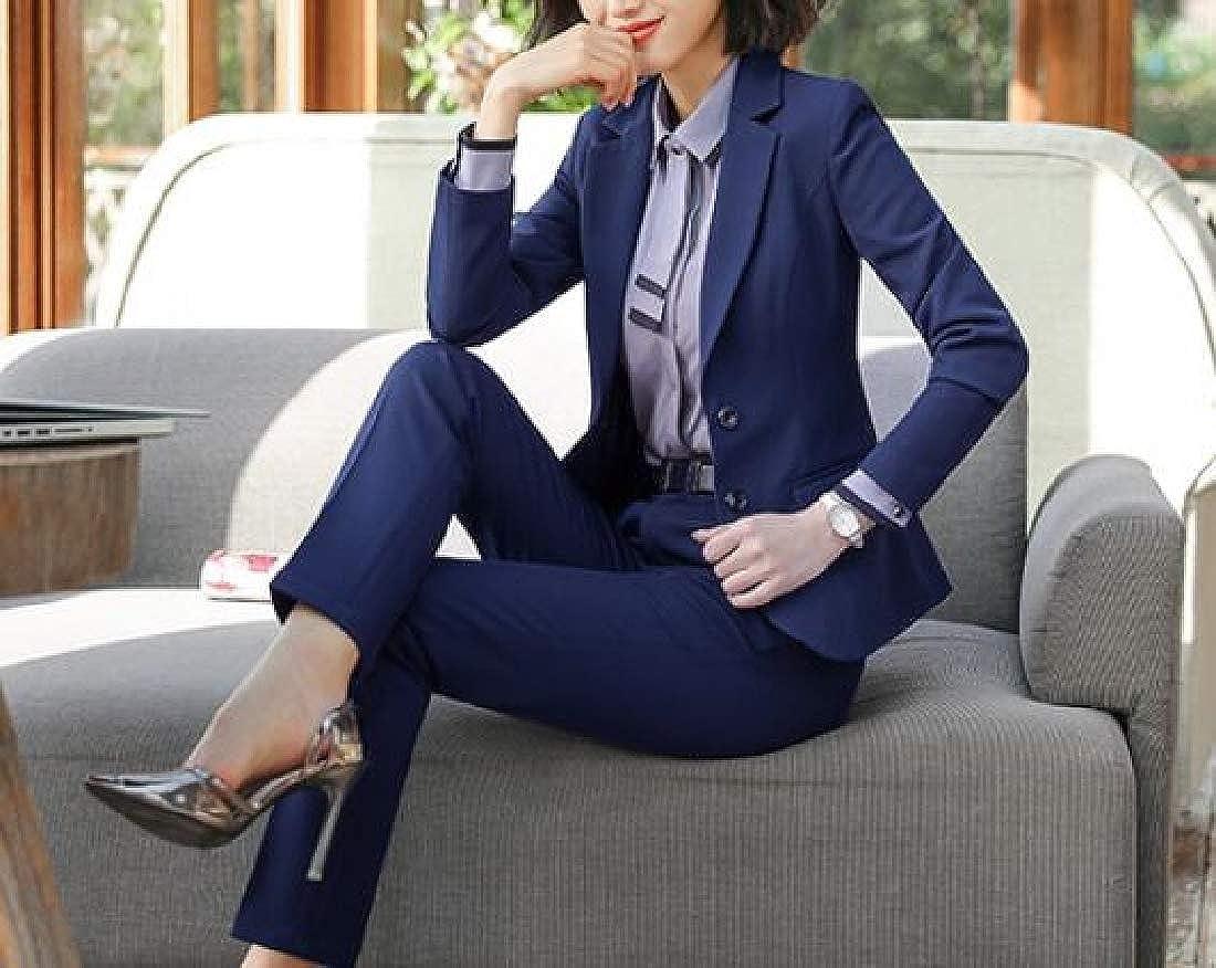 Hajotrawa Womens Stylish Blazer Two Buttons Trousers Coat 2PCS Suit Sets