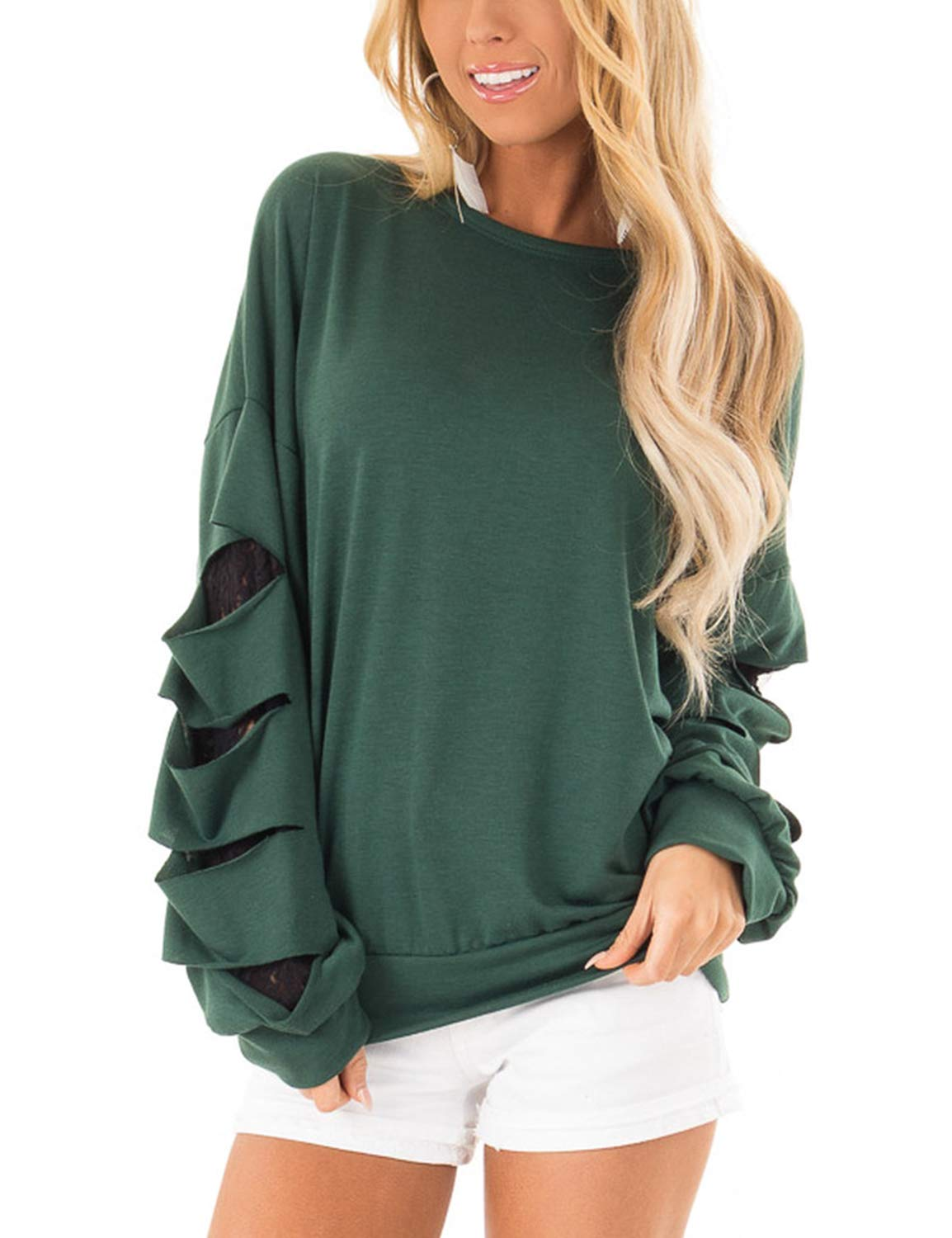 Blooming Jelly Womens Long Sleeve Round Neck Ripped Oversized Shirt Top Green