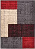 """Conur Collection Squares Geometric Abstract Area Rug Rugs Modern Contemporary Area Rug 2 Color Options (Red Grey, 7'10"""" x 9'10"""")"""