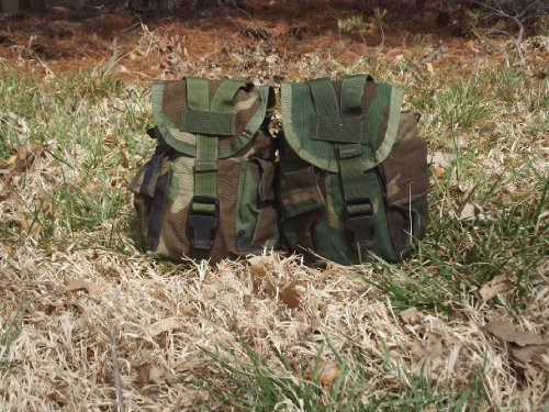 Lot of 2 GI Woodland Camo MOLLE Canteen Carriers/Utility Dump Pouches, Made in - Pouch Canteen 1 Quart