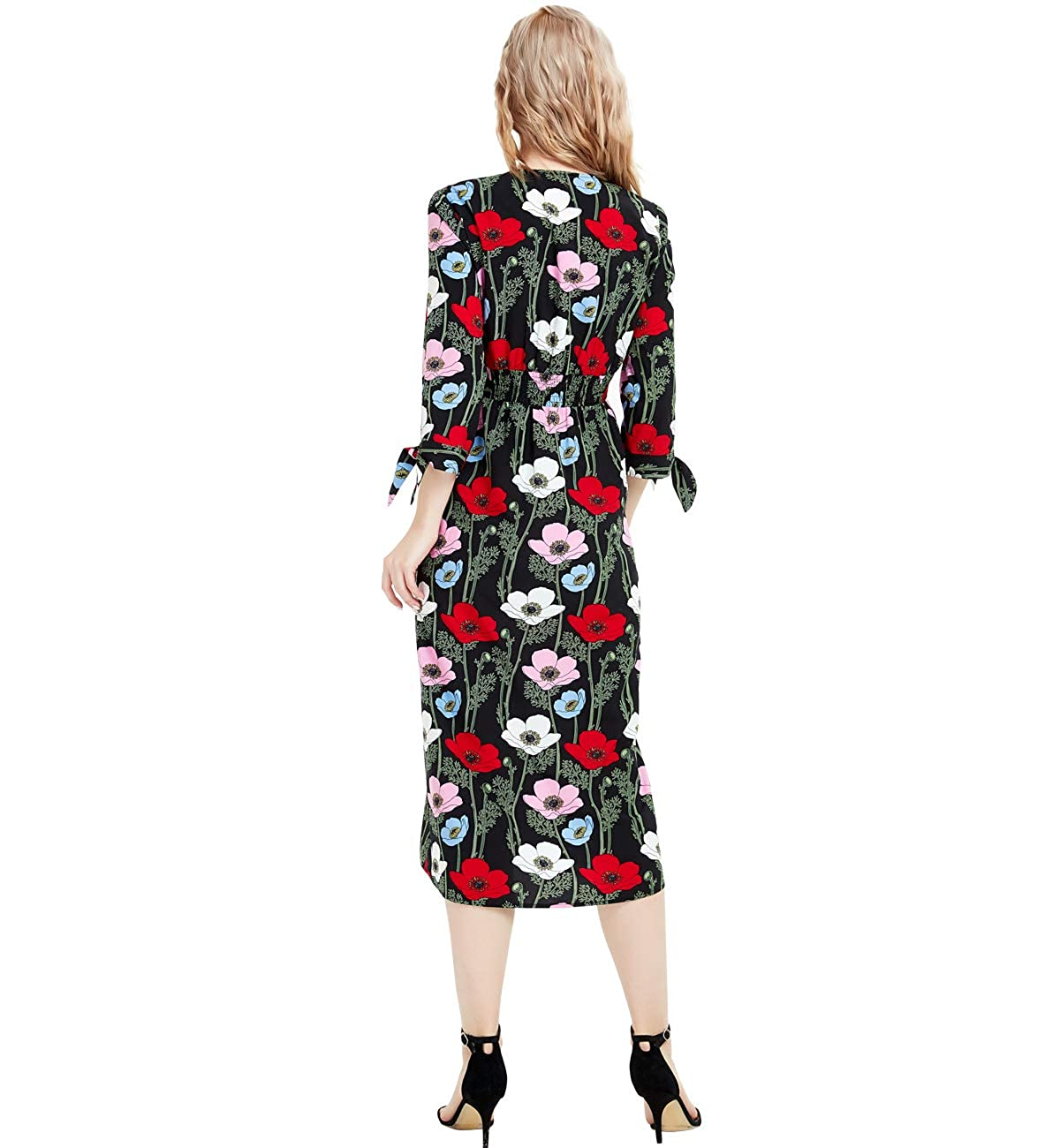 10e14ac257bbda Basic Model Women s Floral Print Vintage V-Neck Boho 3 4 Sleeve Button Up  Maxi Dress at Amazon Women s Clothing store