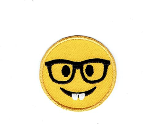 Winking with Tongue Iron on Applique//Embroidered Patch LARGE Smiley Face Emoji