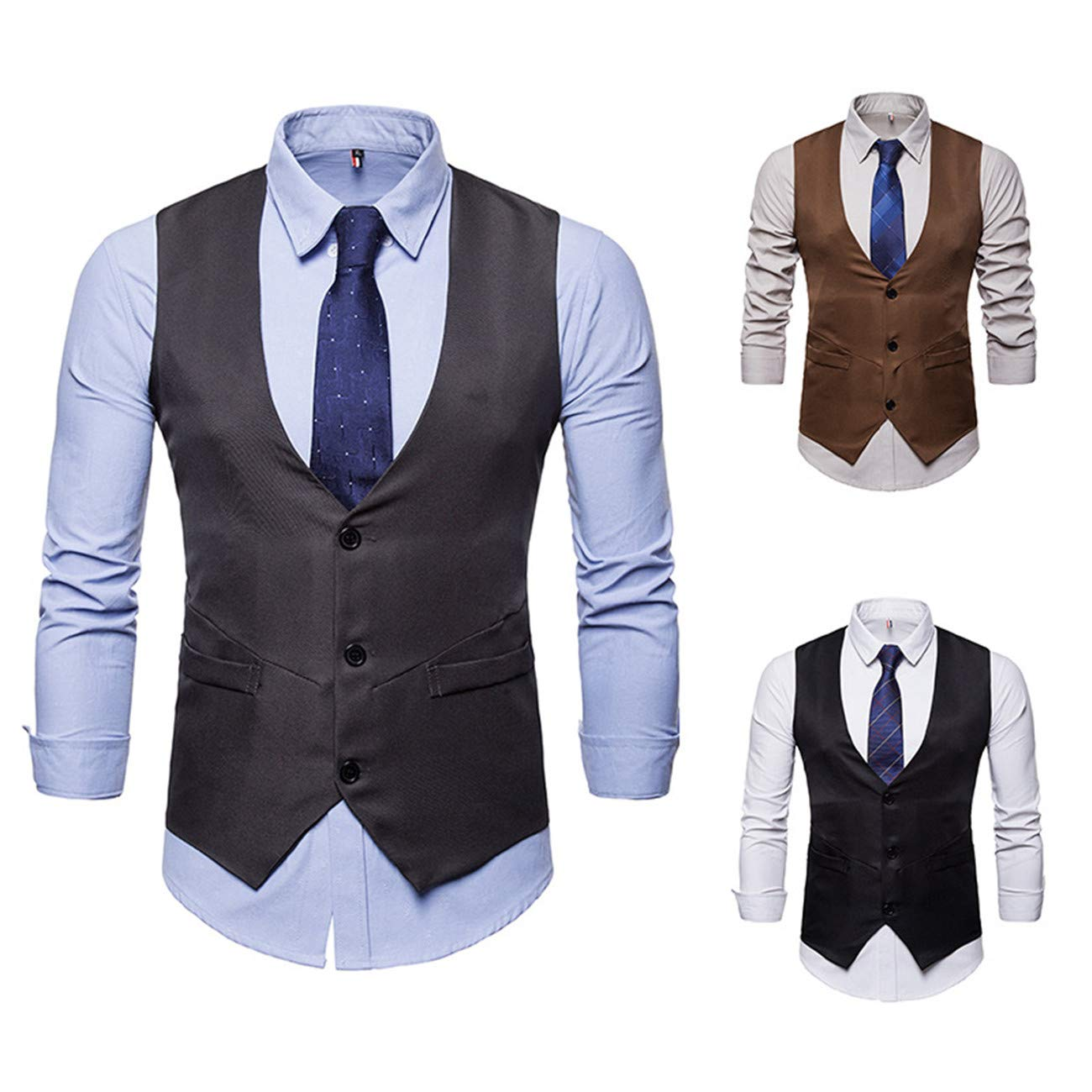 Mens Pure Color Suit Vest Dress Vest Waistcoat for Men Tuxedo Vest