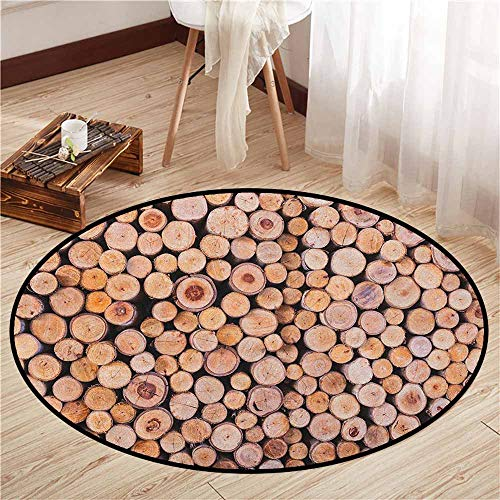 Pet Rugs,Rustic,Mass of Wood Logs Forest Tree Ecology Industry Group of Cut Lumber Circle Stack Image,Door Floor Mat for Bedroom,3'11