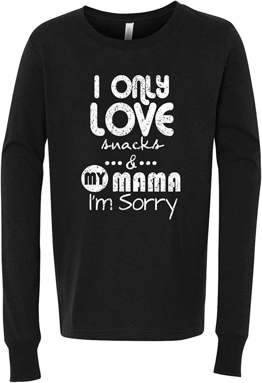 Custom Apparel R Us Snacks and My Mama Boys Girls Graphic Tees Long Sleeve